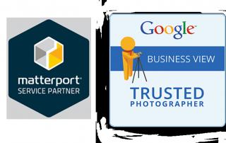 Certificaten Matterport Service partner en Google Trusted Photographer