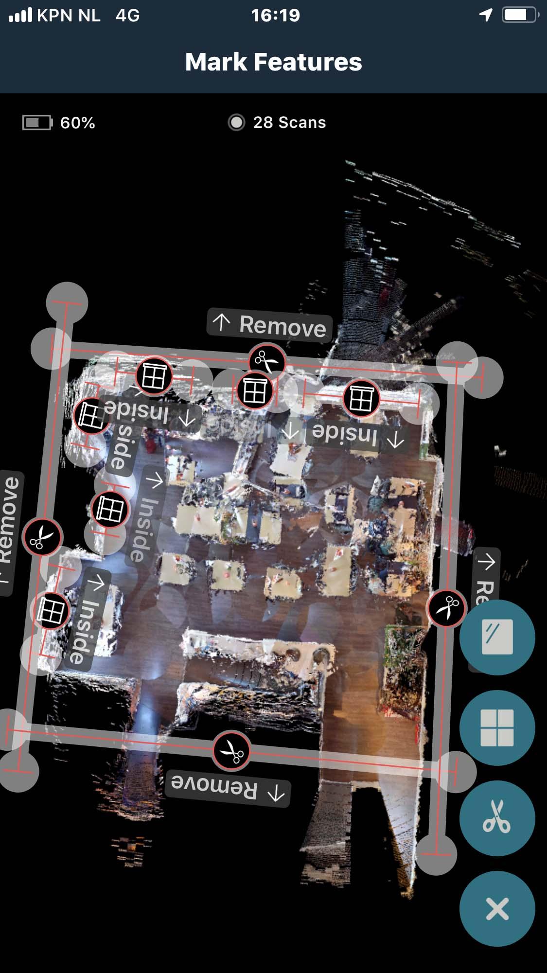 Ramen en Trim aangeven op Matterport scan met theta V en de iphone op beeldscherm
