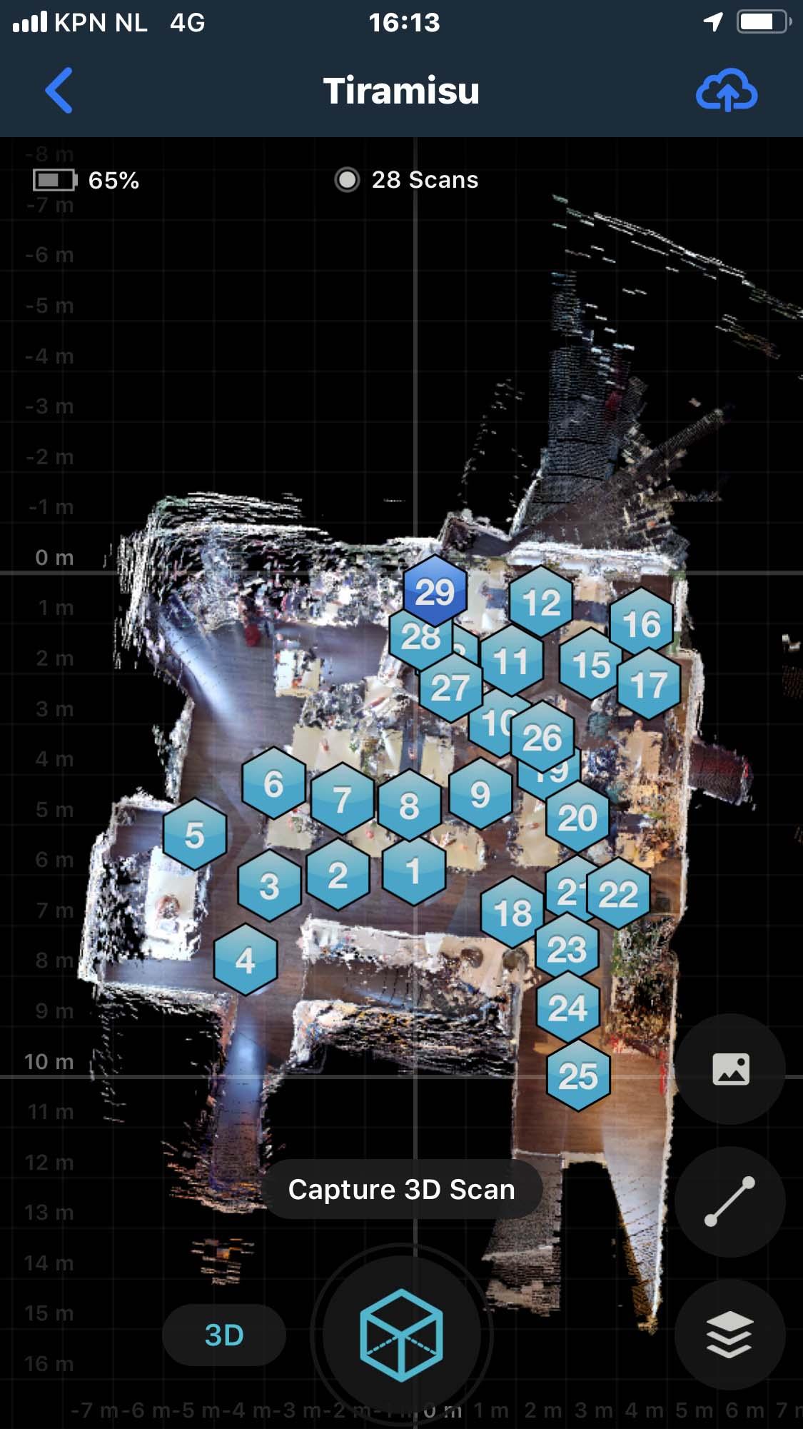 Matterport met ricoh theta scan posities op iphone scherm